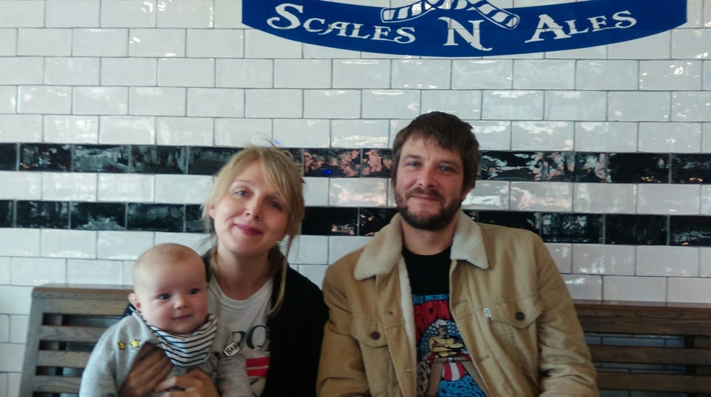 Baby Ted, Laura and Graham in Whitby