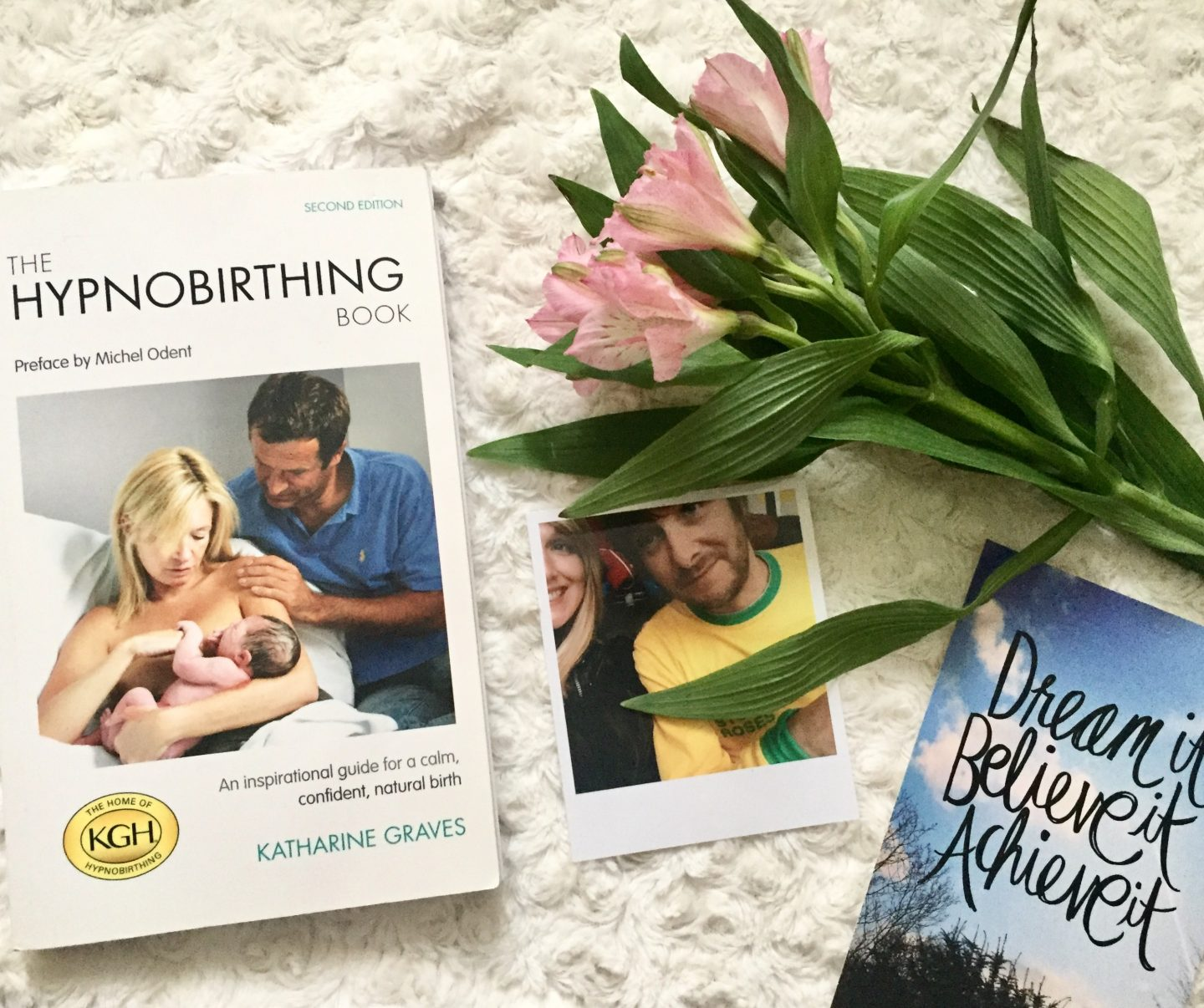 hypnobirthing book and postcard