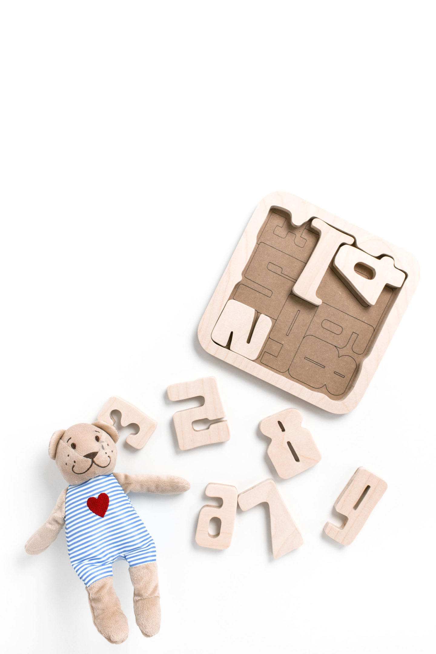 teddy bear and children's puzzle