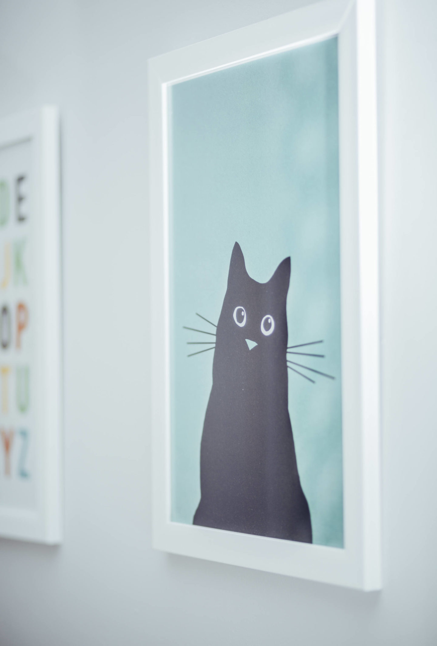 cat art print on wall