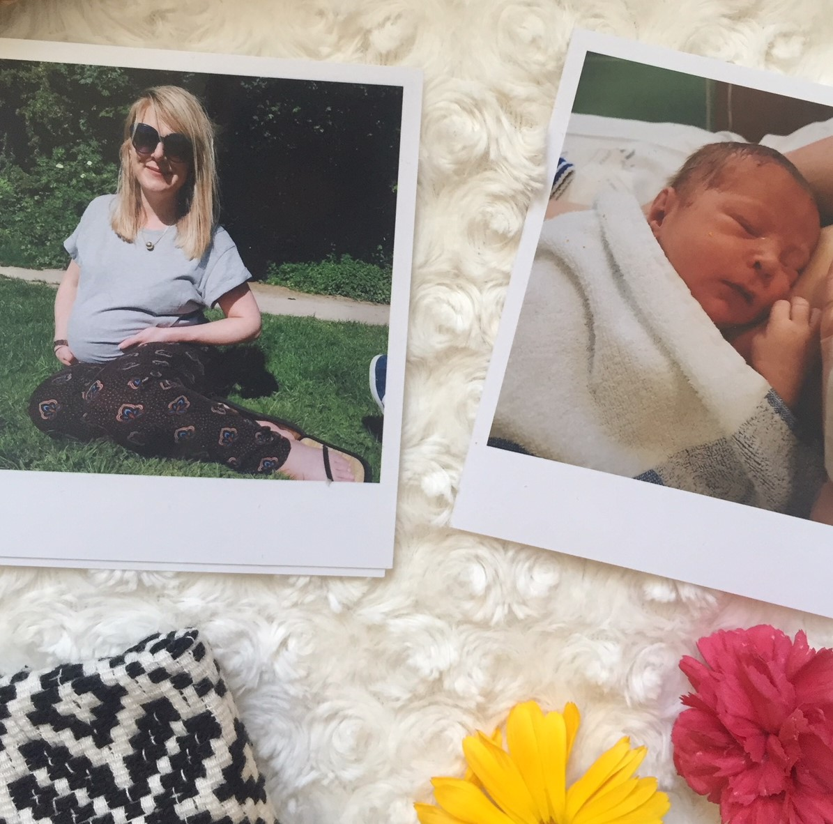 polaroids of a pregnant woman and newborn